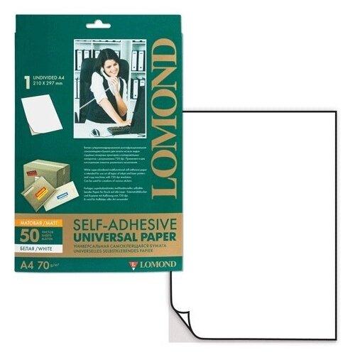 Фото - Этикетки Lomond А4, 1 шт. на листе, 210х297 мм, прямоугольные, белые, 50 листов в упак. этикетки с адресом отправителя 57х32 мм белые