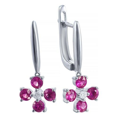 цена на JV Серьги с рубинами и бриллиантами из белого золота AAS-3803E-SR-RU-WG
