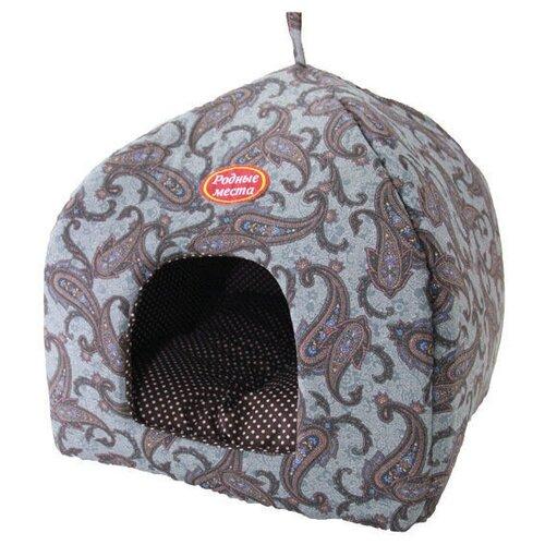 Домик для собак и кошек Родные места Избушка №2 Огурцы 45х45х53 см серый