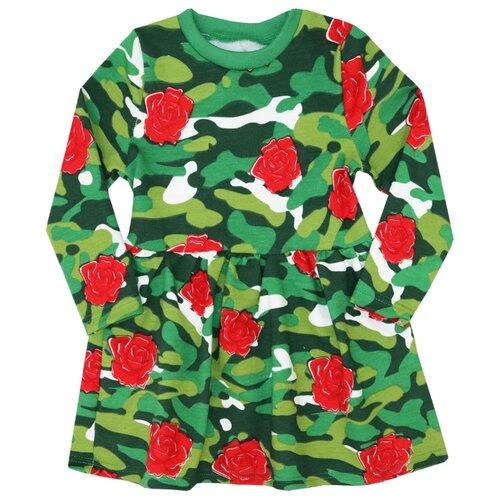 Купить Платье KotMarKot размер 122, милитари зеленый/красный, Платья и сарафаны