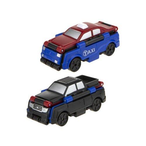 Купить Машинка 1 TOY Transcar Double 2 в 1: Такси/Пикап (Т18281) 8 см красный/синий/черный, Машинки и техника