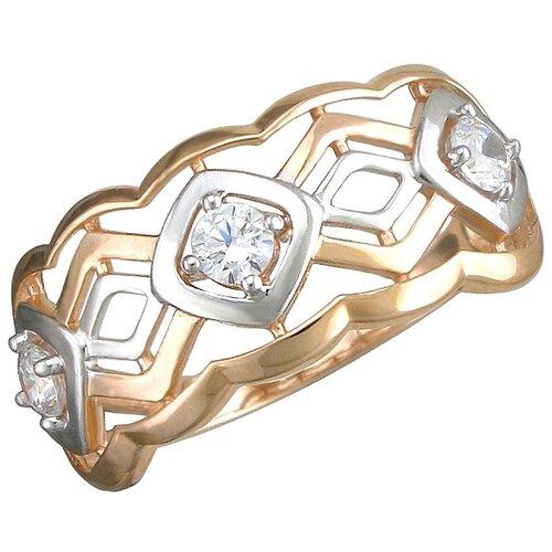 Эстет Кольцо с 3 фианитами из красного золота 01К1112599Р, размер 17.5 ЭСТЕТ