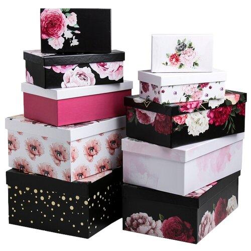 Фото - Набор подарочных коробок Дарите счастье Цветочный вальс, 10 шт. черный/белый набор подарочных коробок дарите счастье универсальный 10 шт бежевый белый черный