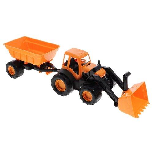 Трактор ZEBRATOYS с ковшом и прицепом Active в коробке (15-10173) 59 см оранжевый
