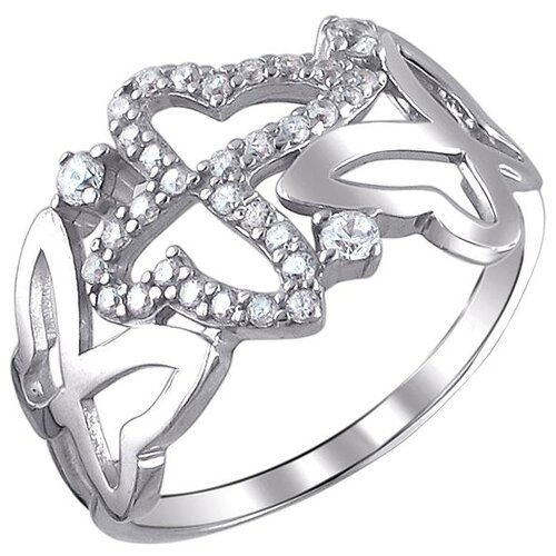 Эстет Кольцо с 33 фианитами из серебра 01К1510399, размер 19