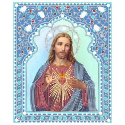 Святейшее Сердце Иисуса (рис. на сатене 25х20) (строчный шов) 20х25 Конек 7104, Конёк, Канва  - купить со скидкой