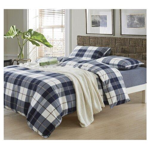 Постельное белье евростандарт СайлиД N-1, сатин синяя клетка постельное белье сайлид а97 1 двуспальное