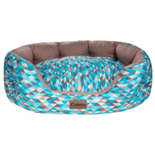 Лежак для собак и кошек Гамма Мозаика овальная медиум 60х48х20 см голубой/бежевый