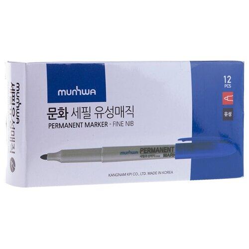 Купить MunHwa набор перманентных маркеров, синий, 12 шт. (FPM-02), Маркеры