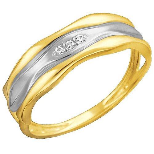 Эстет Кольцо с фианитами из жёлтого золота 01К1312328Р, размер 16.5