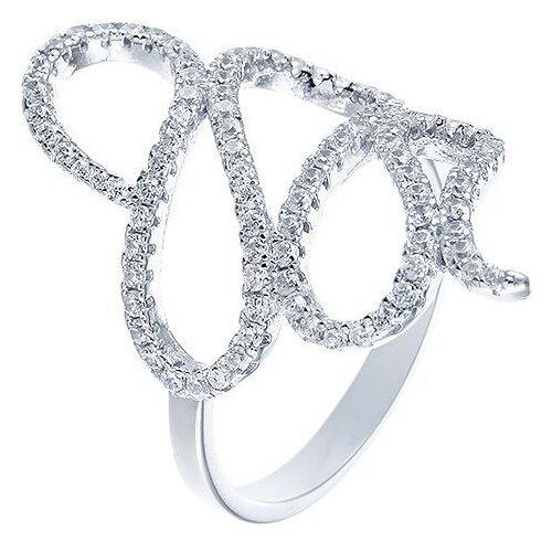 JV Кольцо с фианитами из серебра R-H0159-KO-001-WG, размер 17 jv кольцо с фианитами из серебра r25193 r 001 wg размер 17