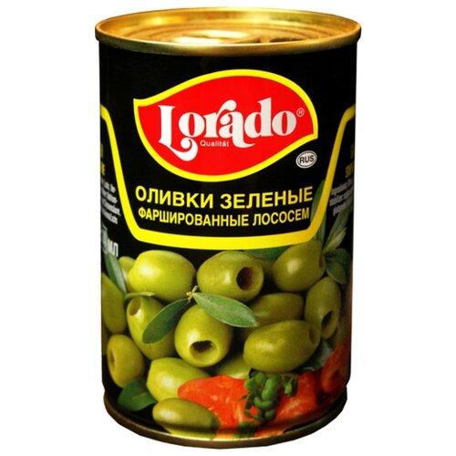 Lorado Оливки зеленые фаршированные лососем, жестяная банка 314 мл acorsa оливки фаршированные анчоусом жестяная банка 350 г