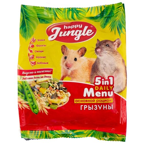 Корм для грызунов Happy Jungle 5 in 1 Daily Menu Основной рацион 350 г