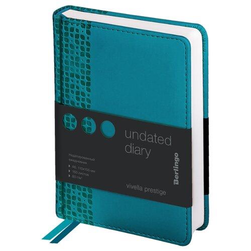 Купить Ежедневник Berlingo Vivella Prestige недатированный, искусственная кожа, А6, 160 листов, аквамарин, Ежедневники, записные книжки