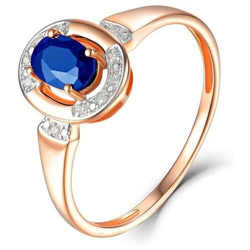 ЛУКАС Кольцо с сапфиром и бриллиантами из красного золота R01-D-69008R001-R17, размер 17 бронницкий ювелир брошь из красного золота h01 d hru1105aru r17