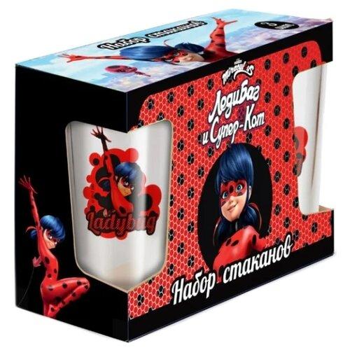 ND Play Набор стаканов Леди Баг и Супер Кот. Дизайн 2, 3 шт 230 мл прозрачный/красный недорого