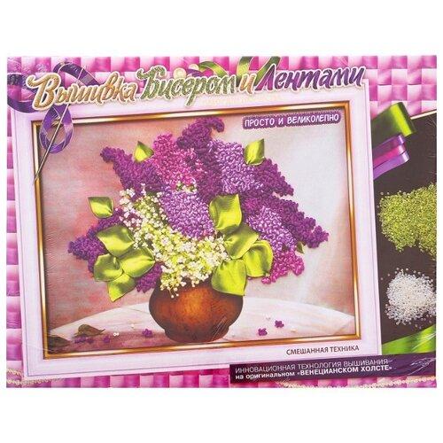 Купить Danko Toys Набор для вышивания бисером и лентами Сирень 35 х 25 см (БВ-01Р-04), Наборы для вышивания