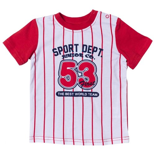 Футболка playToday, размер 74, красный/белый платье oodji ultra цвет красный белый 14001071 13 46148 4512s размер xs 42 170