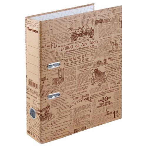 Купить Berlingo Папка-регистратор с арочным механизмом Newspaper A4, 70 мм, крафт-бумага, коричневый, Файлы и папки