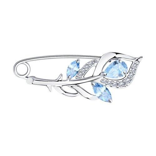 Diamant Брошь из серебра с фианитами 94-140-00615-2