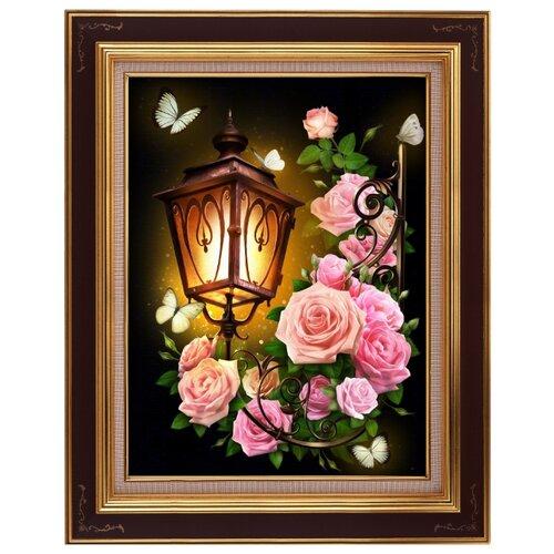 Алмазная живопись Набор алмазной вышивки Фонарь в розах (АЖ-1721) 30x40 см