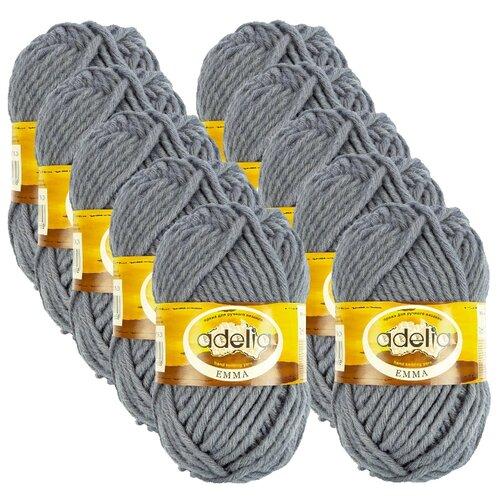 Купить Пряжа Adelia Emma однотонная, 20 % шерсть, 80 % акрил, 50 г, 50 м, 10 шт., №28 св.серый