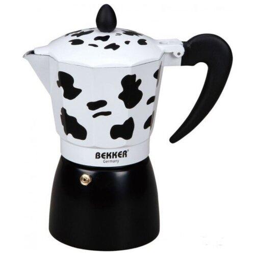 Гейзерная кофеварка Bekker BK-9355 (450 мл), черный/белый