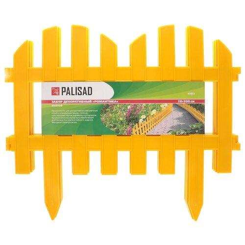 Забор декоративный PALISAD Романтика, желтый, 3 х 0.28 м