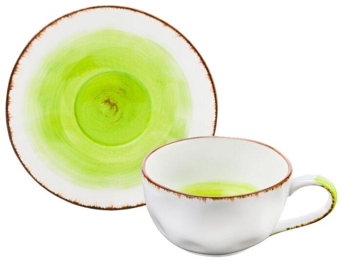 Купить Чайная пара 2 предмета 250 мл 13х9,5х5,5 см Elan Gallery Кантри зеленая по низкой цене с доставкой из Яндекс.Маркета (бывший Беру)