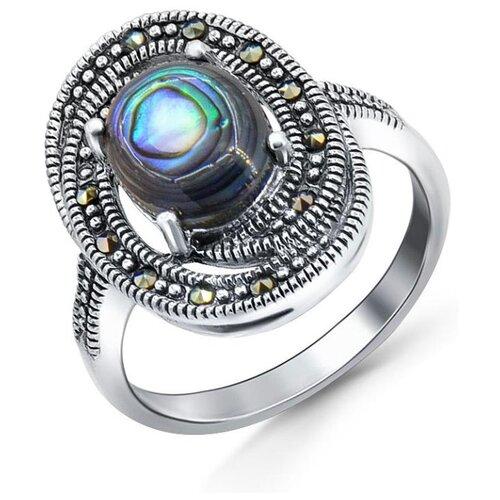 Silver WINGS Кольцо с перламутром и марказитами из серебра 210017-282e-39, размер 17 silver wings кольцо с марказитами и бирюзой из серебра 210011 39 203 размер 17