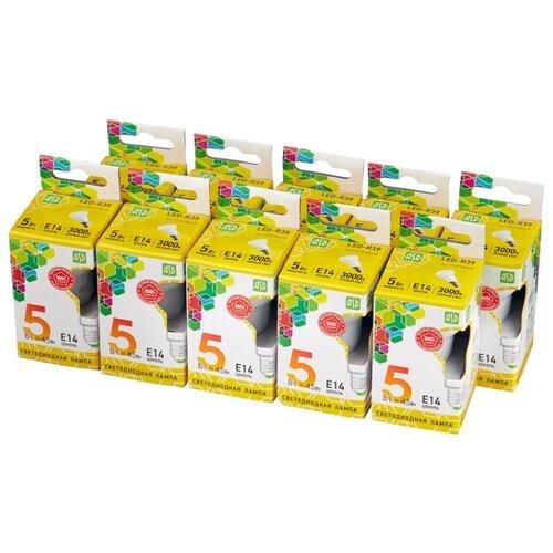 Упаковка светодиодных ламп 10 шт ASD LED-STD 3000К, E14, R39, 5Вт asd standard mr16 gu5 3 10w 220v 3000к