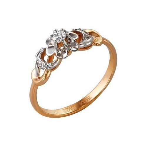 Мастер Бриллиант Кольцо Цветок с 7 бриллиантами из красного золота 1-105-88, размер 17 фото