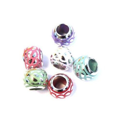 Купить Набор бусин металлических Астра , 12x9, 5-6 мм, цвет: микс, 6 штук, арт. 5389, Astra & Craft, Фурнитура для украшений