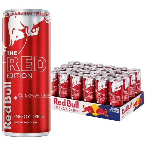 Энергетический напиток Red Bull Red edition, 0.25 л, 24 шт. энергетический напиток tornado energy active 0 45 л 12 шт