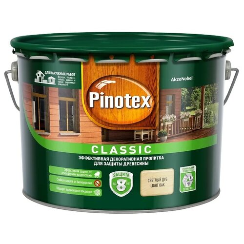 Фото - Водозащитная пропитка Pinotex Classic светлый дуб 9 л водозащитная пропитка pinotex classic светлый дуб 1 л