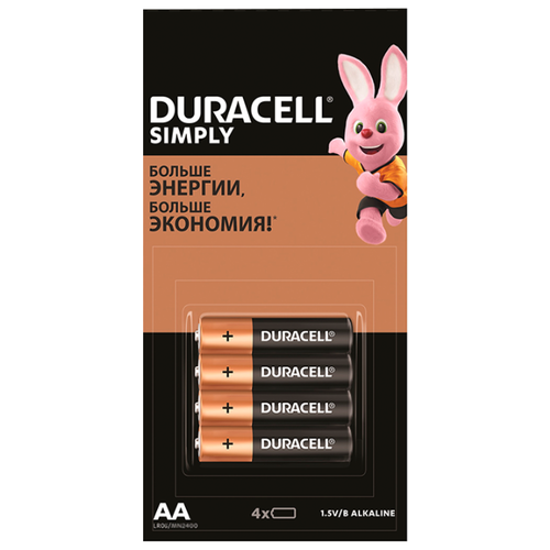 Фото - Батарейка Duracell Simply AAA 4 шт блистер батарейка duracell simply aa 4х4 шт блистер