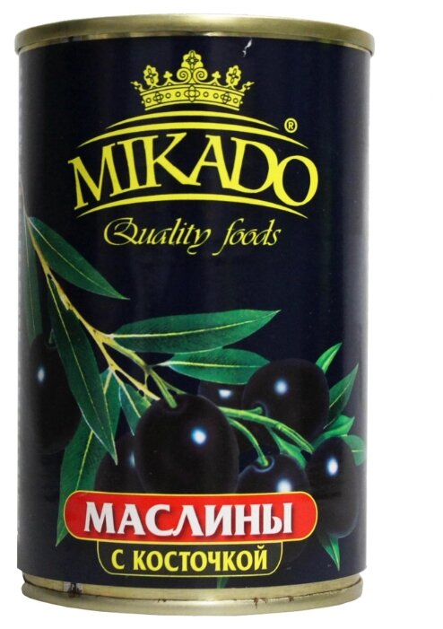 MIKADO Маслины с косточкой, жестяная банка 300 г 314 мл