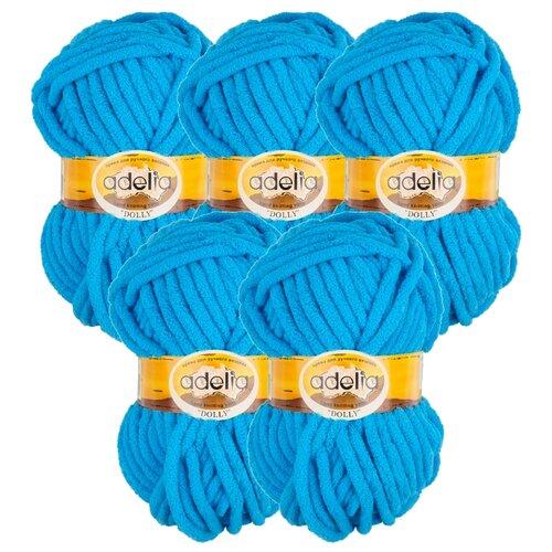 Купить Пряжа Adelia Dolly однотонная, 100 % полиэстер, 100 г, 40 м, 5 шт., №11 яр.голубой