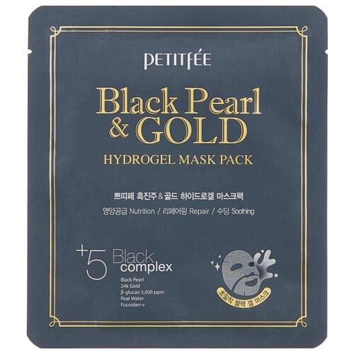 Petitfee Гидрогелевая маска для лица с черным жемчугом и золотом, 32 г