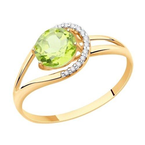 Diamant Кольцо из золота с хризолитом и фианитами 51-310-00220-4, размер 18 diamant кольцо из золота с хризолитом и фианитами 51 310 00256 3 размер 18