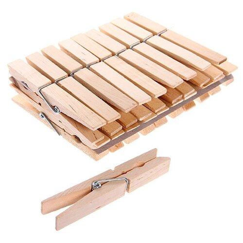 Селфи прищепки бельевые деревянные 7,4 см 24 шт. бежевый