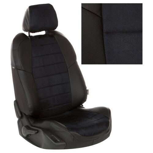 Чехлы на сиденья из алькантары для Peugeot 3008 I (простая комплектация) с 09-16г. Черный, Черный . pe-3008-3008-chch-a