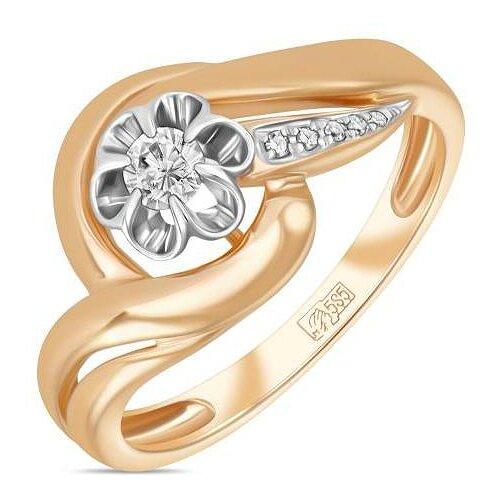 ЛУКАС Кольцо с 6 бриллиантами из красного золота R01-D-RR01008ADI-R17, размер 17.5 бронницкий ювелир брошь из красного золота h01 d hru1105aru r17