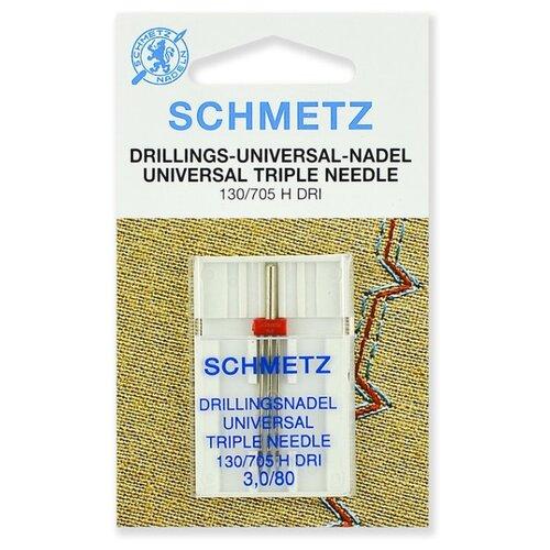 Игла/иглы Schmetz 130/705 H DRI 3,0/80 тройная красный/серебристый