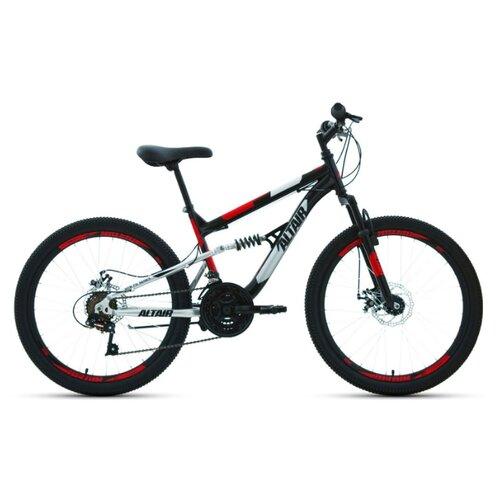 """Подростковый горный (MTB) велосипед ALTAIR MTB FS 24 Disc (2020) черный/красный 14.5"""" (требует финальной сборки)"""