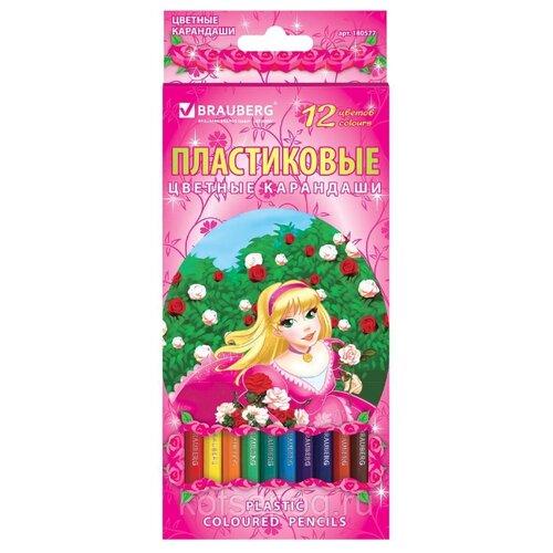 Купить BRAUBERG Карандаши цветные Rose Angel 12 цветов (180577), Цветные карандаши
