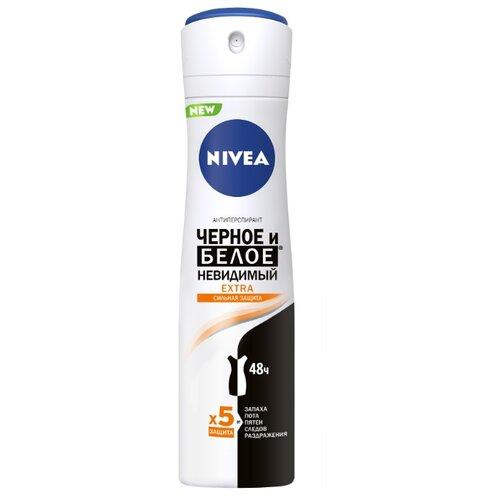 Nivea дезодорант-антиперспирант, спрей, Черное и Белое Невидимый Extra, 150 мл