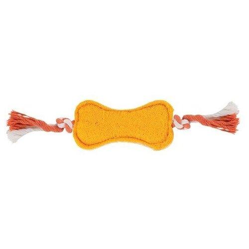 triol triol natural игрушка для мелких животных из люфы тапочек 85 мм TRIOL Игрушка для собак и кошек из люфы Кость на веревке, 17 см Цвет:Желтый, Оранжевый