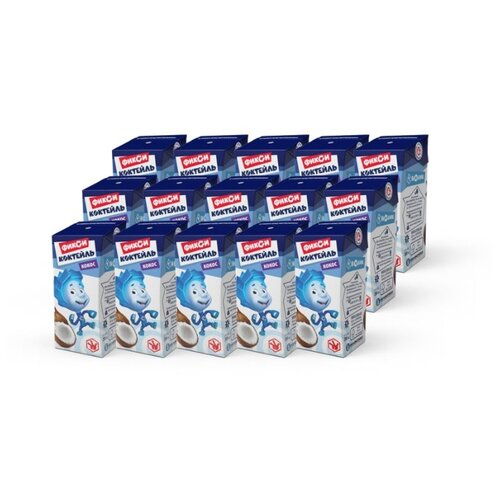 Молочный коктейль Галактика Фиксики Кокос 3%, 200 мл, 15 шт.