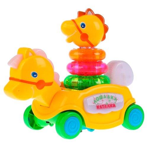 Купить Каталка-игрушка Умка Лошадка (B876678-R) со звуковыми эффектами желтый, Каталки и качалки